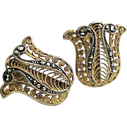 Vintage German Sterling Vermeil Marcasite Earrings
