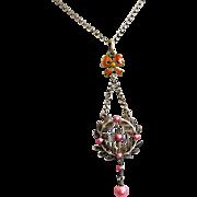 Antique Marius Hammer 930 Silver Enamel Guilloche Norway Pendant Pink