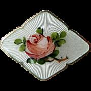 Vintage Sterling Enamel Norway Rose Brooch Small by OF Hjortdahl