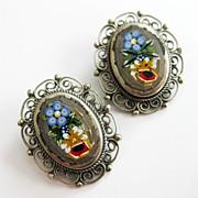 Vintage Italian Micromosaic Earrings Floral Minimosaic