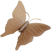 Vintage KD Denmark Taupe Plastic Butterfly Brooch Pin