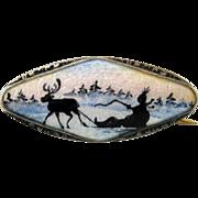 Vintage Elvik Sterling Enamel Norway Guilloche Scenic Brooch Sami Reindeer