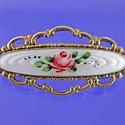 Vintage Finn Jensen Sterling Enamel Rose Brooch Pin