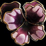 Vintage Sterling Enamel Norway David-Andersen Pansy Brooch Purple
