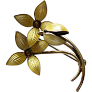 Vintage Sterling Enamel Norway Ivar Holt Flowers Brooch Pin Yellow