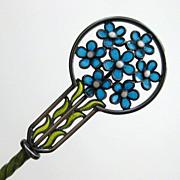 SOLD Antique Marius Hammer Cased Plique a Jour Spoon Set Sterling Enamel 1912-1913 Art Nouveau