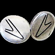Hans Hansen Denmark Atomic Mid-Century Modernist Earrings Vintage Sterling