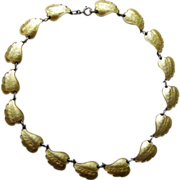 Vintage Sterling Enamel Norway Ivar Holt Leaf Necklace Yellow