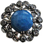 Vintage Wachenheimer Sterling Brooch Pin Floral Setting Blue Stone