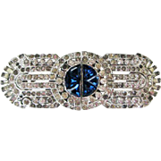 Vintage 1930s Coro Duette Art Deco White Blue Rhinestones Rhodium Pair Dress Clips