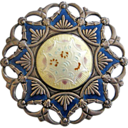 Early Jakob Tostrup Sterling Enamel Brooch Norway Medallion-Style
