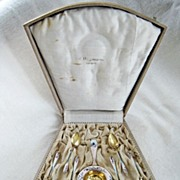 SOLD Antique Gustav Gaudernack Sterling Enamel Norway Cased Tea Set Spoons Strainer Sugar Tong