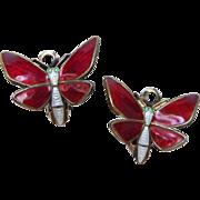 Vintage Sterling Enamel Norway Butterfly Earrings by Einar Modahl Red