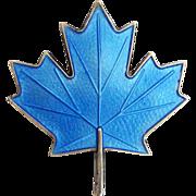 Vintage Sterling Enamel Norway Brooch Aksel Holmsen Maple Leaf Blue