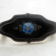 Vintage Sterling Enamel F.A. Hermann Collar Pin Forget-Me-Not