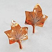Vintage Sterling Copper Stuart Nye Ivy Leaf Earrings Screwback