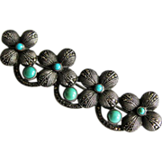 Vintage Sterling Turquoise Marcasite Theodor Fahrner Brooch Pin