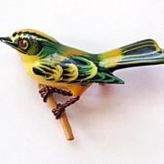 Vintage Takahashi Yellow-Crowned Kinglet Bird Pin Brooch