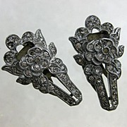 Vintage 1933 Rhinestone Pot Metal Dress Clips Pair of Two