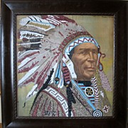 Most amazing framed Native American Indian beadwork portrait 1896