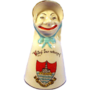 Arcadian crested ware Suffragette figural Votes for Women bell