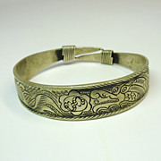 Antique large signed Chinese silver Dragon & Phoenix bracelet