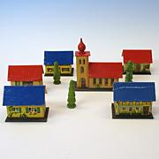 French Fashion doll chromolitho paper Toy Village set