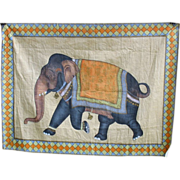 Antique Indian hand painted wall hanging on silk-Fancy Elephant