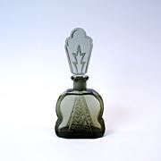Art Deco Czech smoky black glass perfume bottle