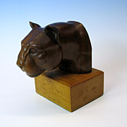 1940's Hand carved wooden bust of a Panther or Big Cat