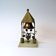 Unusual Victorian table bell-gilt urn of flowers under tower