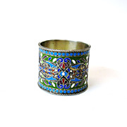 SOLD Vintage Russian silver & enamel Napkin ring