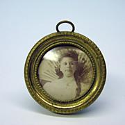 Tiny antique miniature french bronze portrait frame
