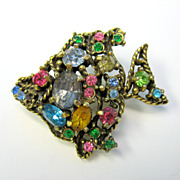 Vintage signed Hollycraft jeweled Fish pin brooch