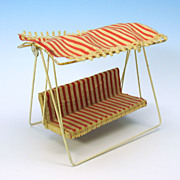 Vintage red striped vintage all bisque Garden swing with canopy