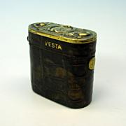 Early gilded sterling silver & Alligator traveling Vesta case