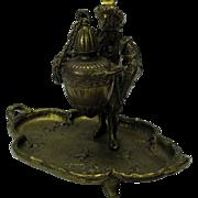 Victorian figural bronze table oil Cigar lamp