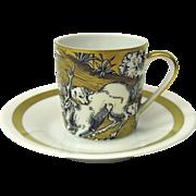 VA Portugal gilded scenic demitasse cup & saucer #4