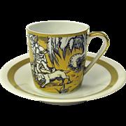 VA Portugal gilded scenic demitasse cup & saucer #5