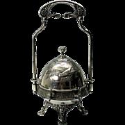 Big Victorian silverplated butter dish semi mechanical bird