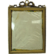 Antique hanging French bronze portrait frame convex glass