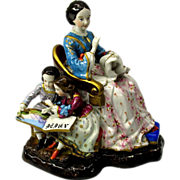 Big Victorian porcelain figural hidden inkwell group