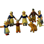 6 Piece Fashion doll tiny miniature painted lead figure group