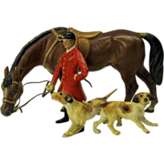 Antique cold painted Vienna bronze Hunt group hounds horse