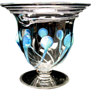 Unusual Powell Art Nouveau opalescent ribbed glass vase