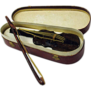 Antique Dresden figural candy box ornament-Violin & bow in case