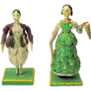 SALE PENDING Rare early pair of Grodnertal dolls dressed in shell outfits