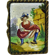 "Antique French enameled  ""naughty"" match safe vesta"