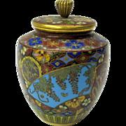 Masterful antique Japanese cloisonne miniature pot or jar