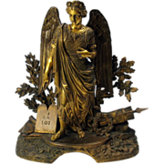 SALE Big early finest gilded bronze Angel clock top statue